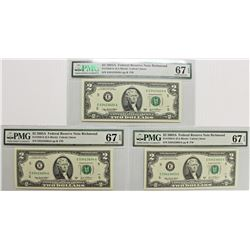 3 PIECE 2003 A $2.00 FEDERAL RESERVE NOTES