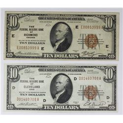 TWO 1929 $10.00 FEDERAL RESERVE BANK NOTES