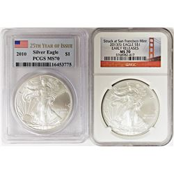 2010 AND 2013-S AMERICAN SILVER EAGLES