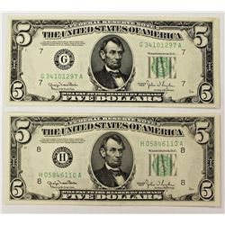 TWO 1950 $5.00 FEDERAL RESERVE NOTES