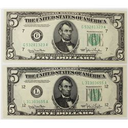 TWO 1950 $5.00 FEDERAL RESERVE NOTES: