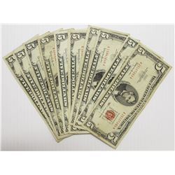 TEN RED SEAL 1963 $5.00 U.S. NOTES