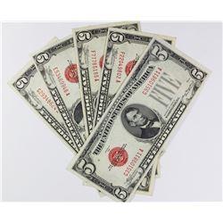 (5) 1928-C $5.00 U.S. NOTES