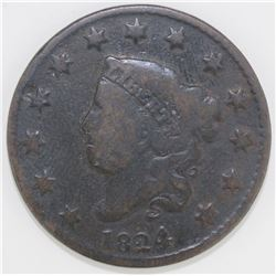 1824/2 LARGE CENT VG