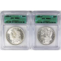 TWO 1883-O MORGAN SILVER DOLLARS