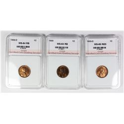 GEM BU RED LINCOLN CENT LOT: