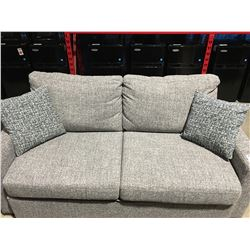 GREY UPHOLSTERED  PULL OUT SOFA BED - QUEEN SIZE - WITH 2 THROW CUSHIONS