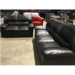 2 PCE BLACK LEATHER SOFA SET