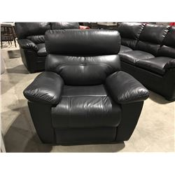 BLACK LEATHER POWER RECLINING LOUNGE CHAIR (SMALL SCUFF ON BACK)