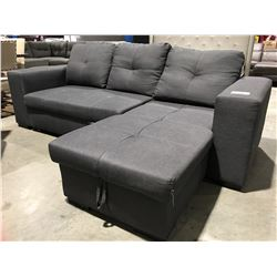 "DARK GREY UPHOLSTERED ""L"" SHAPED SOFA WITH PULL OUT BED"