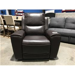 BROWN LEATHER POWER RECLINING LOUNGE CHAIR