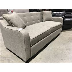 6' LIGHT GREY UPHOLSTERED SOFA HIDE-A-BED WITH 2 THROW CUSHIONS