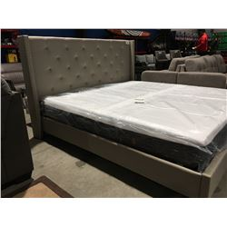 KING SIZE UPHOLSTERED BED FRAME (HEADBOARD/FOOTBOARD & RAILS)