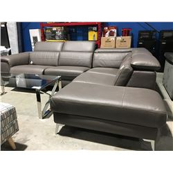 "BROWN LEATHER ""L"" SHAPED SOFA SET WITH POWER RECLINER"
