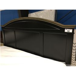 KING SIZE ASHLEY DARK WOOD BED FRAME (HEADBOARD/FOOTBOARD & RAILS)
