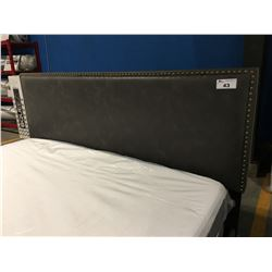 KING SIZE BROWN UPHOLSTERED BED FRAME (HEADBOARD/FOOTBOARD & RAILS)