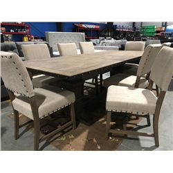 WOOD PEDESTAL BASE DINING ROOM TABLE WITH LEAF &  8 UPHOLSTERED CHAIRS