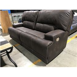 ASHLEY DARK BROWN UPHOLSTERED RECLINING SOFA WITH XL CHAIR