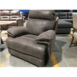 BROWN UPHOLSTERED POWER RECLINING LOUNGE CHAIR