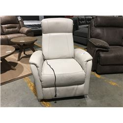 WHITE UPHOLSTERED RECLINING LOUNGE CHAIR (SOME WEAR PRESENT)