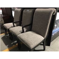 3 BEIGE UPHOLSTERED DINING ROOM CHAIRS WITH DARK WOOD LEGS
