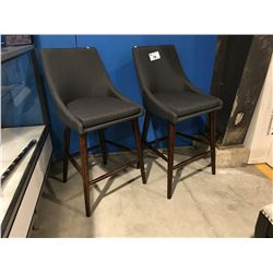 2 GREY UPHOLSTERED STOOLS WITH WOODEN LEGS