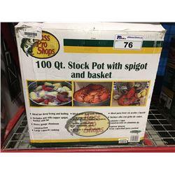 100 QUART BASS PRO SHOPS STOCK POT WITH SPIGOT & BASKET