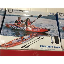 ZRAY DRIFT INFLATABLE 2 MAN KAYAK C/W BACKPACK/PADDLES & PUMP