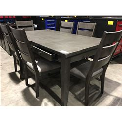 GREY WOOD 6 DRAWER DINING ROOM TABLE WITH 6 CHAIRS (SOME SCUFFS)