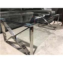 "GLASS COFFEE TABLE WITH CHROME BASE 47"" X 34"""