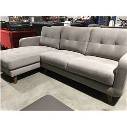 """L"" SHAPED GREY UPHOLSTERED SOFA"