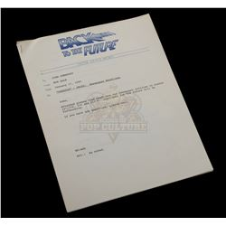 Back to the Future Part II – Original Bob Gale Inter-Office Memo to Prop Master – VI877