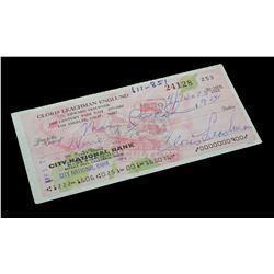 Cloris Leachman – Signed Bank Check – VI587
