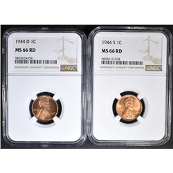 1944-D & 1944-S LINCOLN CENTS, NGC MS-66 RED