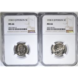 2-1938-D JEFFERSON NICKELS, NGC MS-66