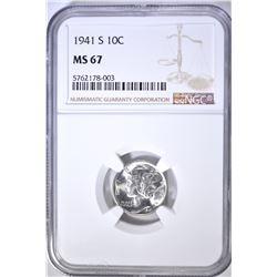 1941-S MERCURY DIME, NGC MS-67