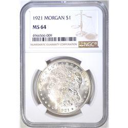 1921 MORGAN DOLLAR, NGC MS-64