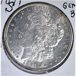 1891-S MORGAN DOLLAR, GEM BU