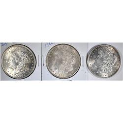 3-BU 1921 MORGAN DOLLARS
