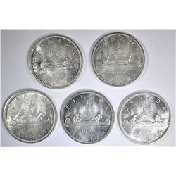 5-BU 1965 CANADIAN SILVER DOLLARS