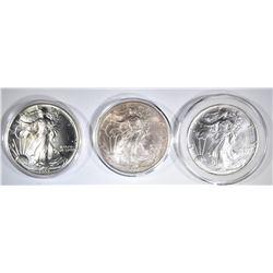 2-1993 & 1-2001 BU AMERICAN SILVER EAGLES