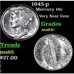 1945-p Mercury Dime 10c Grades Choice+ Unc