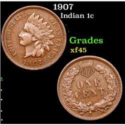 1907 Indian Cent 1c Grades xf+