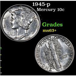 1945-p Mercury Dime 10c Grades Select+ Unc
