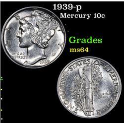 1939-p Mercury Dime 10c Grades Choice Unc