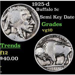 1925-d Buffalo Nickel 5c Grades vg+