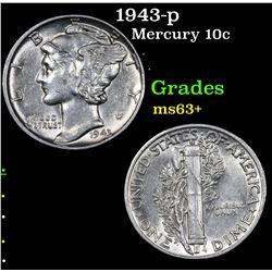 1943-p Mercury Dime 10c Grades Select+ Unc