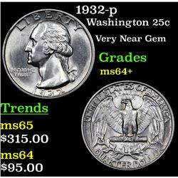 1932-p Washington Quarter 25c Grades Choice+ Unc
