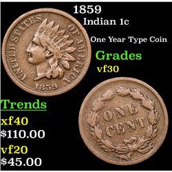 1859 Indian Cent 1c Grades vf++