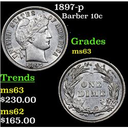 1897-p Barber Dime 10c Grades Select Unc